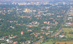 An aerial view of Nairobi, the central business district and Ngong Road