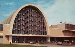 The New Orleans International Airport passenger terminal building in New Orleans (1960s).