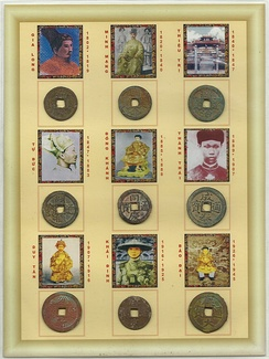 Nine coins, with pictures of their respective emperors