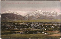 1910 postcard image of Pomona Valley with Mt. Baldy in the distance