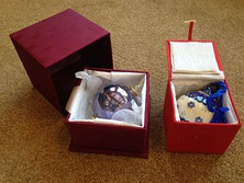 Ornaments in storage boxes