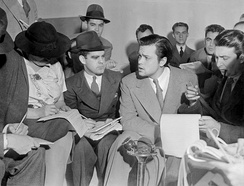 "Welles at the press conference after ""The War of the Worlds"" broadcast (October 31, 1938)"