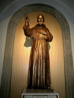 A sculpture of Pio of Pietrelcina in the Franciscan San Antonio church in Pamplona, Spain