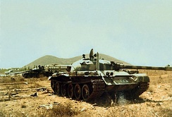 Abandoned Syrian T-62 tanks on the Golan Heights