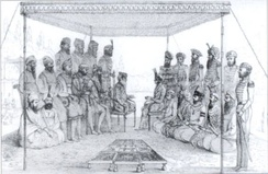 Ranjit Singh holding court in 1838 CE