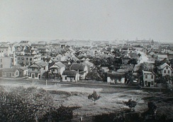 View of St. Augustine in 1891 from the former San Marco Hotel, Spanish St. on left, Huguenot Cemetery lower left corner, Cordova St. on right