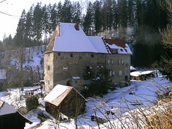 Fortified house – a family seat of a knight (Schloss Hart by the Harter Graben near Kindberg, Austria)