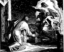 The vision of the Lord directing Abraham to count the stars (woodcut by Julius Schnorr von Carolsfeld from the 1860 Bible in Pictures)