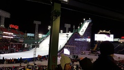 A 140 foot tall ski jump from center field to the pitcher's mound.