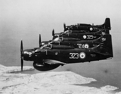 Four Royal Navy Douglas Skyraider AEW.1s from D Flight 849 Naval Air Squadron, based at Royal Naval Air Station Culdrose, in flight in the 1950s