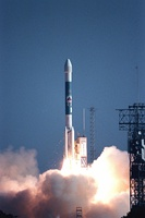 Photo of Stardust during launch with a Delta II launch vehicle