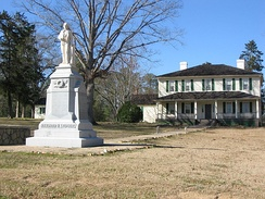 "Alexander H. Stephens Monument in front of his house, ""Liberty Hall."""