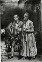 two people standing next to each other in a historic setting