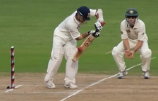 Indian cricketer Sachin Tendulkar, batting with his personalized Adidas Cricket Bat