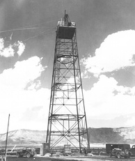 "The 30-metre (100 ft) ""shot tower"" constructed for the test"