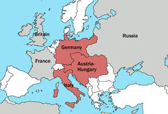 The Triple Alliance of Germany, Austria and Italy in 1913