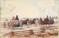 Two Sleighs on a Country Road, Canada, c. 1835–1848. Image includes a variety of fur throws and clothing, including hides of animals not native to Canada.