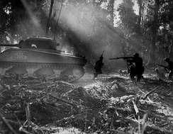 U.S. soldiers hunt Japanese infiltrators during the Bougainville Campaign