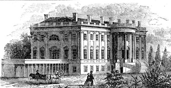 Jefferson and Latrobe's West Wing Colonnade, in this nineteenth-century engraved view, is now the James S. Brady Press Briefing Room.