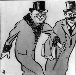 """Winston Churchill smiles at the camera"". Cartoon by H. M. Bateman (ca. 1912)."