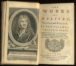 First volume of a 1739 translation into English of all of Molière's plays, printed by John Watts.