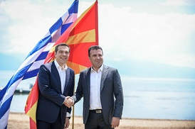 Zoran Zaev and Alexis Tsipras in Oteševo, Macedonia after signing the agreement