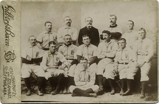 1892 Philadelphia Phillies; Pictured are Bob Allen, Charlie Reilly, Sam Thompson, Harry Wright, Roger Connor, Bill Hallman, Billy Hamilton, Ed Delahanty, Jack Clements, Tim Keefe, Lave Cross, Gus Weyhing, Kid Carsey.