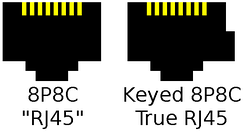 Left: Generic 8P8C (or 8PMJ, 8-position modular jack) female connector. Right: RJ45 female connector (with key)