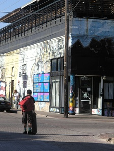 A skater along Main Street in Deep Ellum