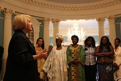 In 2012, Ambassador-at-Large for Global Women's Issues Melanne Verveer greets participants in an African Women's Entrepreneurship Program at the State Department in Washington, D.C.
