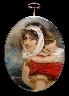 Anne Becher and William Makepeace Thackeray by George Chinnery, c. 1813
