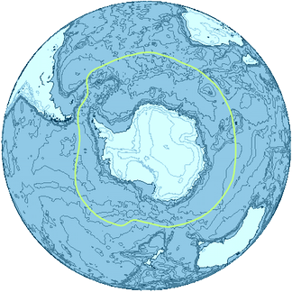 A general delineation of the Antarctic Convergence, sometimes used by scientists as the demarcation of the Southern Ocean.