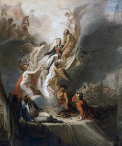 Scott Pierre Nicolas Legrand's Apotheosis of Nelson, c. 1805–18. Nelson ascends into immortality as the Battle of Trafalgar rages in the background. He is supported by Neptune, whilst Fame holds a crown of stars as a symbol of immortality over Nelson's head. A grieving Britannia holds out her arms, whilst Hercules, Mars, Minerva and Jupiter look on.