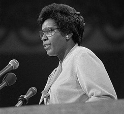 Barbara Jordan delivering the keynote address on the first day of the convention