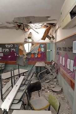 Grad rocket fired from Gaza hits Southern Israeli city of Beer Sheva and destroys a kindergarten classroom
