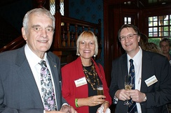 Former Vice-Chancellor Gavin Brown (left) with wife Diane Ranck and Brendon Coventry in 2009