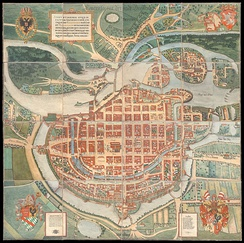 Map of the city from 1562, with its fortifications on the Oder River