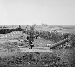 """Quaker guns"" (logs used as ruses to imitate cannons) in former Confederate fortifications at Manassas Junction March 1862"