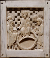 10th-century Ottonian ivory plaque depicting Christ receiving a church from Otto I