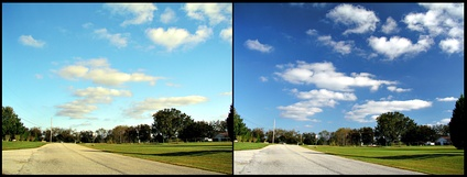 The effects of a polarising filter on the sky in a photograph. Left picture is taken without polariser. For the right picture, filter was adjusted to eliminate certain polarizations of the scattered blue light from the sky.