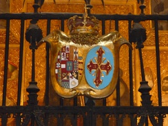 Arms of the Spanish royal family as grand masters  of the Constantinian Order, Cathedral of Barcelona