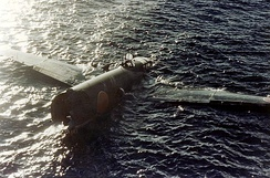 Crashed G4M1 floating at Tulagi 8 August 1942