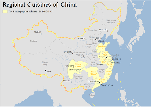 Map showing classification and distribution of major regional cuisines of China