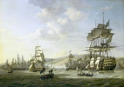 The bombardment of Algiers by the Anglo-Dutch fleet in support of an ultimatum to release European slaves, August 1816
