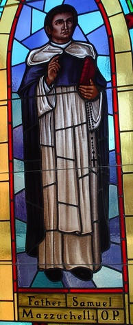 A stained glass image of the Venerable Father Samuel Mazzuchelli in St. Raphael's Cathedral, Dubuque, Iowa.