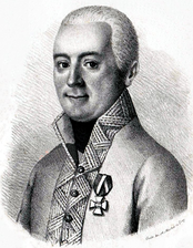 Black and white print of a smiling man with short hair. He wears a white military uniform with fancy edging on the collar and lapels with the Knight's Cross of the Order of Maria Theresa pinned to the coat.
