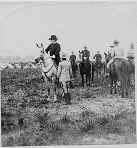 General Nelson Miles and other soldiers on horseback in Puerto Rico in 1898