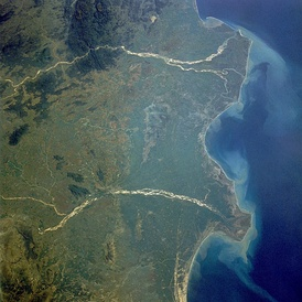 The Krishna River Delta (lower river system in image), with False Divi Point at eastern point.