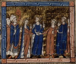 A young crowned man (surrounded by bishops and clerics) puts the hands of a young woman and man together