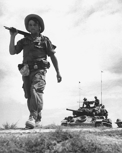 The French Foreign Legion on patrol during the First Indochina War, 1954.